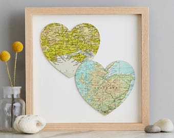 Duo of map hearts print -vintage maps - anniversary gift - wedding gift - valentine's - romantic gift