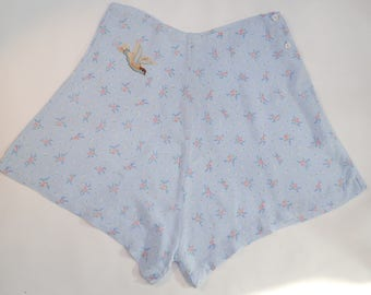 Immaculate 1950's Baby Blue Rosie French Knickers With Bluebird Pants Vintage Wedding Ooh-lala Burlesque Pretty Underwear Roses Floral 50's