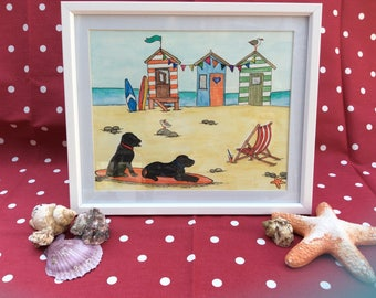 Seaside painting, Watercolour. Surf Dogs and Beach huts