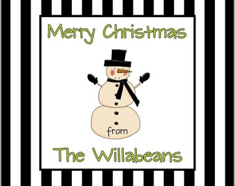 Printable 3-inch square Gift Tag or Label Snowman Stripes by Swell Printing