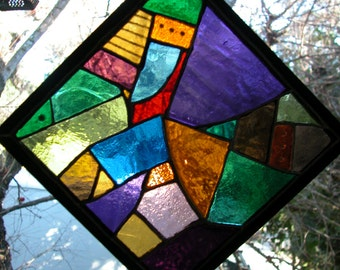 Abstract 2 Lead Free Stained Glass Window Panel