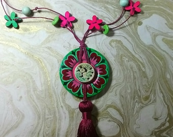 Artistically Hand Painted Necklace