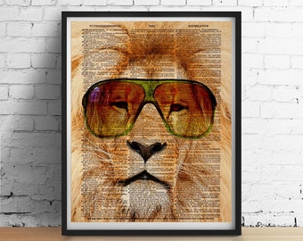Retro Glam LION Sunglasses Art Print, Glam Metal Dorm decor, SafariAnimal Wall Art, Animals Wearing Glasses, Dictionary Art Poster Giclee