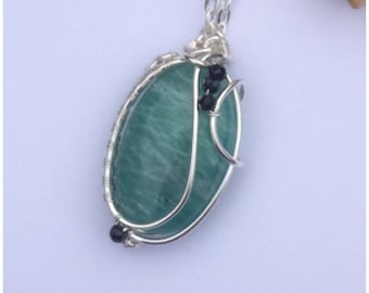 Amazonite wire wrapped pendant, dainty gemstone necklace, free post