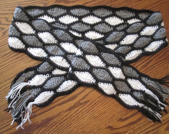 Monochromatic, Stained Glass, Honeycomb, Multicolored Scarf