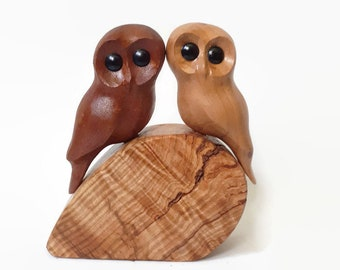Gift for her 5th anniversary gifts rustic wedding gift for couple gift handmade owl wood anniversary gift for him wood carving