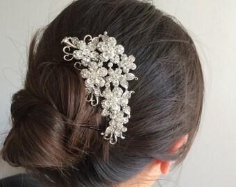 bridal comb, wedding hair comb, wedding comb, bridal hair comb, wedding hair accessories, flower comb, crystal comb, bridal jewelry
