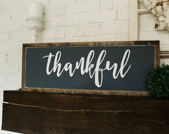 "thankful 24""x8"" wood sign