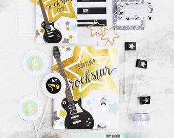 Rockstar Rockstar Birthday, Rockstar Party Papergoods Invitations, VIP Pass Backstage Pass,