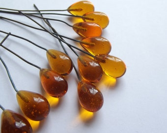 Vintage amber glass tipped headpins