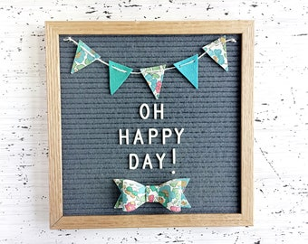 Mini Felt Banner and Bow / Bow Tie for Your Letter Board - Liberty London Floral - For Special Occasions or to Make Every Day Special