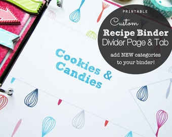 CUSTOM Recipe Binder Divider Pages and Tabs, PDF Printable - Add to your Recipe Binder - choose your tab and text color - whisk theme