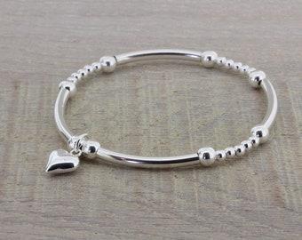 Heart Bracelet/Stretch Bracelet/Silver Bracelet/Noodle Bracelet/Stacking Bracelet/Charm Bracelet/Silver Beaded Bracelet/Gift For Her