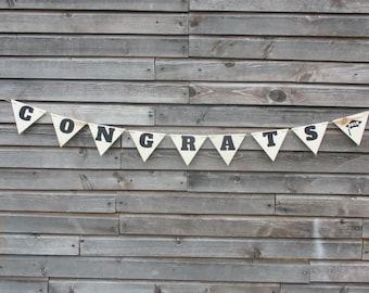 Graduation 2018 party decoration photography prop.  Wooden pennant style banner.  Made to order congrats with cap banner.  Graduation gift.