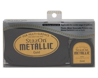 StazOn metallic Gold ink for rubber stamps --9352