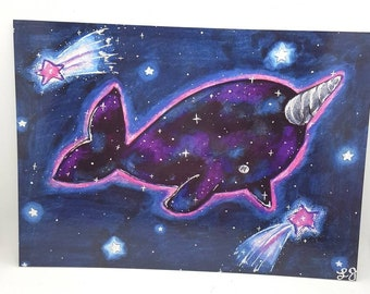 Starwhal art print; 5x7 postcard print; kawaii artwork; pencil painting