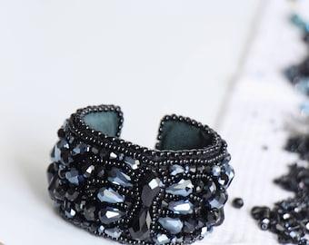 Boho chic black chunky bracelet cuff, shiny black crystal cuff, black wrist cuff, large and wide black arm cuff, black boho bracelet chunky