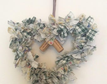 Rag wreath heart shaped