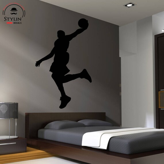 BASKETBALL PLAYER DUNKING Wall Decal Silhouette Boy's