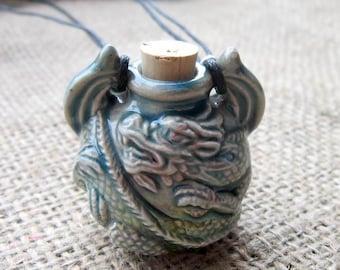 Raku Glazed 3D Ceramic Dragon Bottle Beaded Cord Necklace - Blue & Cream Raku Glazed Pendant