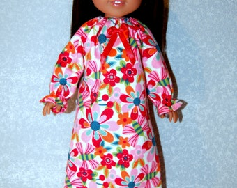 """Nightgown for 14"""" Wellie Wishers or Melissa & Doug Doll Clothes red-orange-blue tkct1091 READY TO SHIP"""