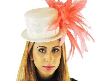 Gorgeous White & Coral Raguel Hat for Kentucky Derby, Weddings (40 colours available)