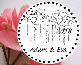 "Personalized wedding stamp ""Flying balloons"", rubber stamp, wedding, custom wedding stamp, save the date stamp, balloon stamp,name stamp,828"