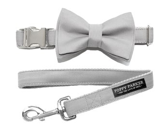 Layered Dog Bow Tie - Light Gray Mystic - Optional Matching Leash - Dog Bow - Wedding Dog Bow Tie