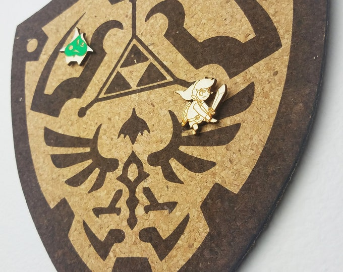 Triforce Shield Zelda Cork Board | Enamel Pin Display | Laser Cut Cork Board | Handmade Decor