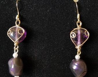 Purple Wire Drop Earrings
