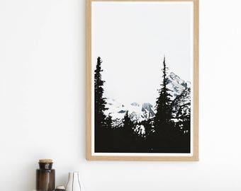 Mountain Print - Pine Trees - Winter Print - Black and White - Monochrome - Minimalist - Landscape Photography
