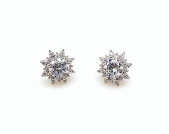 bridal earrings wedding jewelry prom christmas party petite dainty snow flake flower shape cubic zirconia post rhodium stud earrings