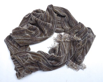 Mink Brown Handwoven Chenille Scarf for Men or Women