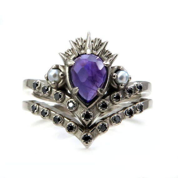 Ursula the Sea Witch Engagement Ring Set - Amethyst Pear with Seed Pearls and Black Diamonds