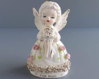 Fine A Quality June Angel of the Month Figurine | Mid-Century Wedding Girl | Vintage Bride Holding Flower Bouquet | Made in Japan