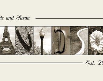 Alphabet Photography Custom Sepia Name Frame Print 10x20 (Unframed)