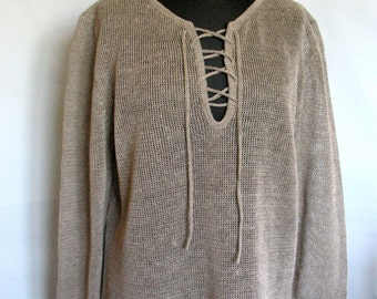 Man Gray Linen Shirt Top Sweater Clothing Natural Grey knitted summer 9RG3w8bPoU