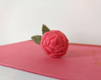 Ring with Pink Rosette on Adjustable Ring Base
