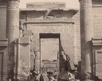 Arab men by Medinet Habu temple ruins antique albumen photo Egypt Lekegian
