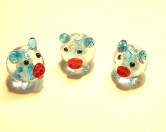 DESTASH-- Three (3) Lampwork Glass Pig Beads -- Your Choice of Color -- LOT 3S