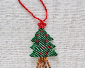 Beaded Christmas Tree Holiday Ornament, Beaded Christmas Tree Ornament, Guatemalan-made