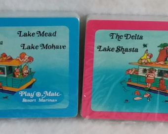 Set of  2 New Wrapped Play Mate Resort Marina's  Playing Cards ~ The Delta ~ Lake Shasta ~ Lake Mead ~ Lake Mohave