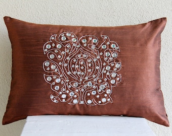 Decorative Oblong / Lumbar Rectangle Throw Pillow Covers Accent Pillow Couch 12x16 Rust Silk Pillows Crystal Embroidered - Crystal Evening