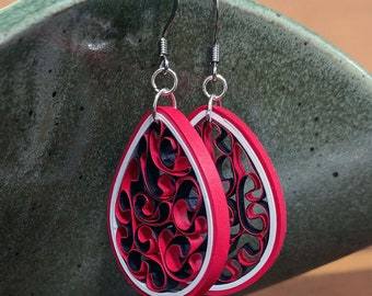 Crimson Red Paper Quilling Honeycomb Earrings | First Paper Anniversary Gift for Her | Stainless Steel Hypoallergenic for Sensitive Ears