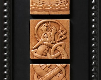 Fishing for Jormungand (Stone) Limited edition of 50 signed/numbered, framed sculptural reliefs by Aric Jorn.