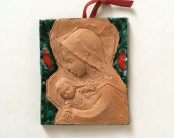 Vintage Madonna and Child Italy, Terra Cotta Madonna and Child Art