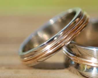 White and Yellow Gold Pathway Petite 4mm Wedding band, Her wedding band, two toned wedding band