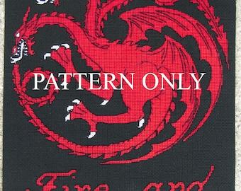 Targaryen Sigil and Words - Game of Thrones Cross Stitch Pattern