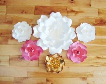 Small Paper Flowers - Set of 6 | Baby Nursery | Flower Wall | Home Decor | Paper Flowers Wedding | Baby Room Decorations | Wedding Flowers