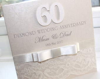 Personalised Handmade Diamond 60th Wedding Anniversary Lace Card by Charlotte Elisabeth A024